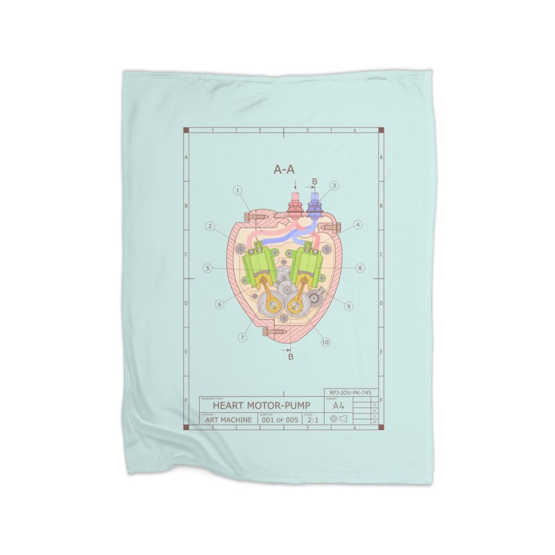 HEART MOTOR PUMP technical drawing Home Fleece Blanket Blanket by ART MACHINE technical drawing