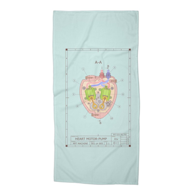 HEART MOTOR PUMP technical drawing Accessories Beach Towel by ART MACHINE technical drawing