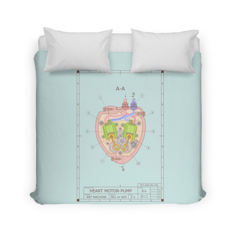 HEART MOTOR PUMP technical drawing Home Duvet by ART MACHINE technical drawing