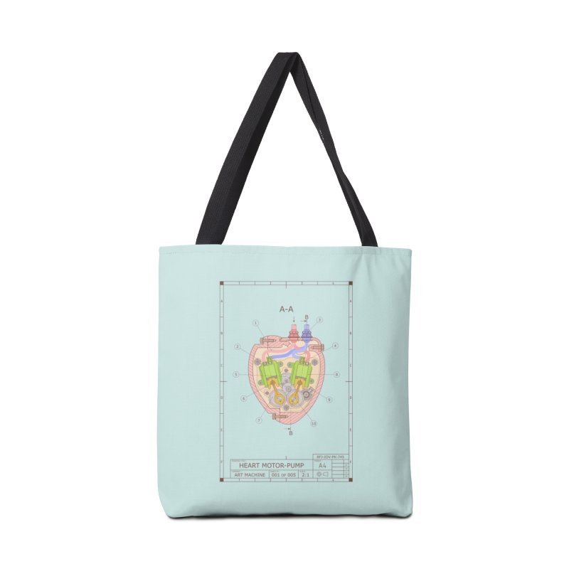 HEART MOTOR PUMP technical drawing Accessories Tote Bag Bag by ART MACHINE technical drawing