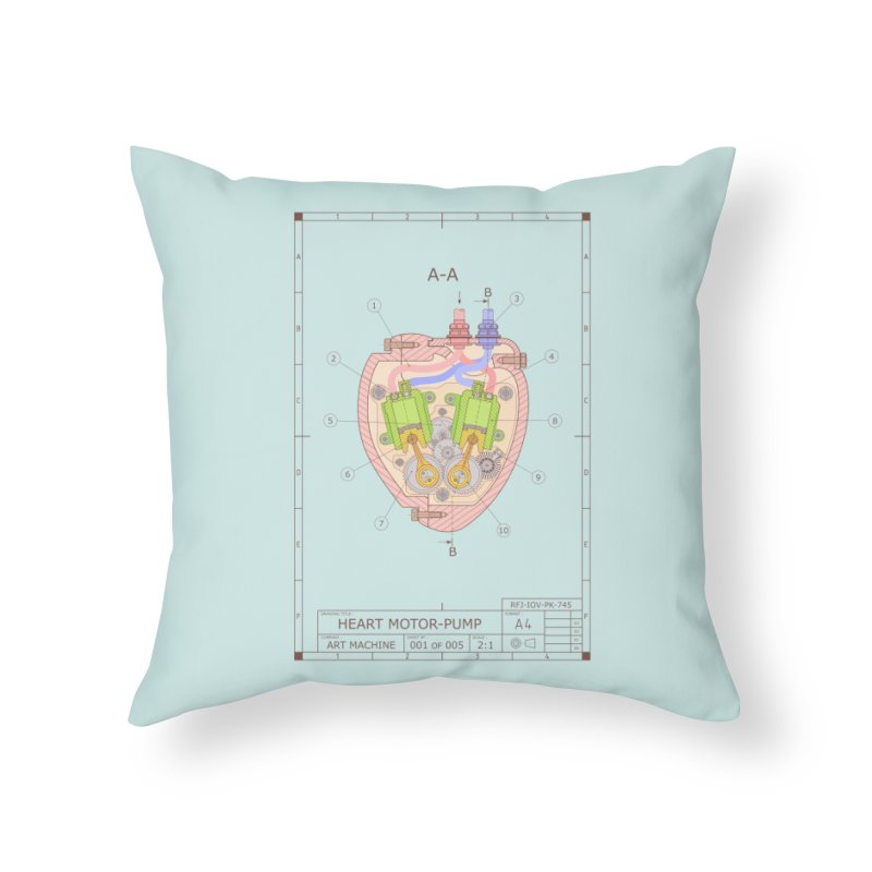 HEART MOTOR PUMP technical drawing Home Throw Pillow by ART MACHINE technical drawing