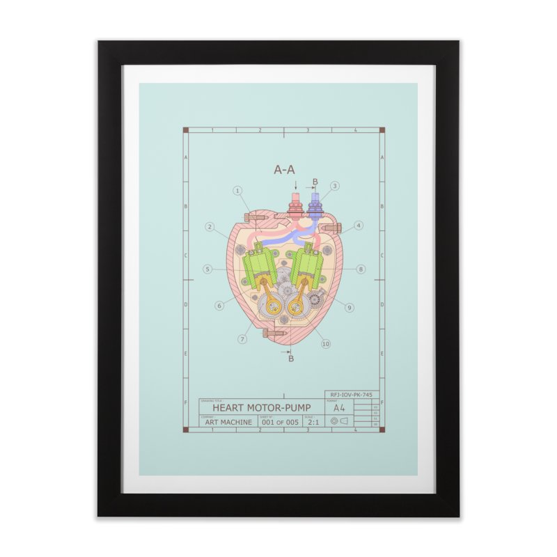 HEART MOTOR PUMP technical drawing Home Framed Fine Art Print by ART MACHINE technical drawing