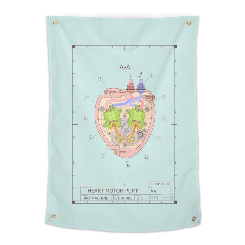 HEART MOTOR PUMP technical drawing Home Tapestry by ART MACHINE technical drawing