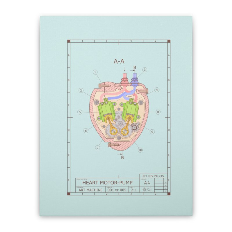 HEART MOTOR PUMP technical drawing Home Stretched Canvas by ART MACHINE technical drawing