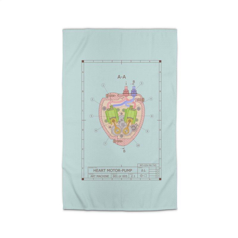 HEART MOTOR PUMP technical drawing Home Rug by ART MACHINE technical drawing
