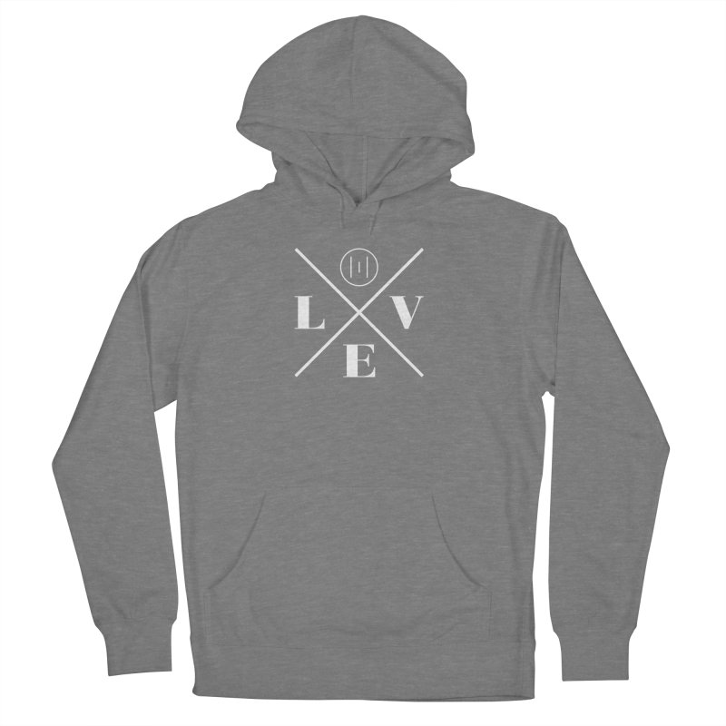 The Onset   Love White Women's French Terry Pullover Hoody by Macy McKinzie