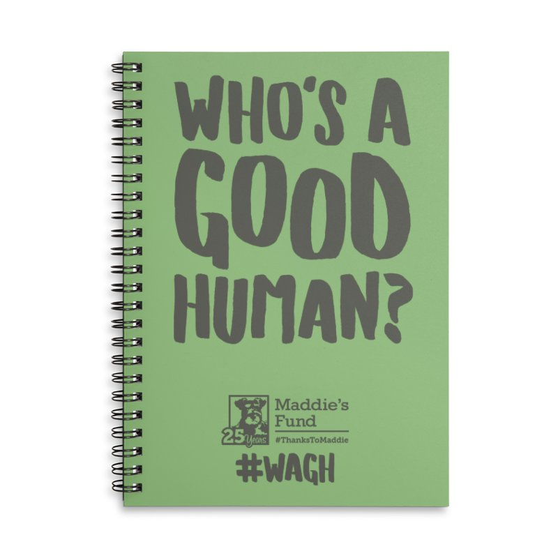 Who's a Good Human Handlettered Accessories Lined Spiral Notebook by Maddie Shop