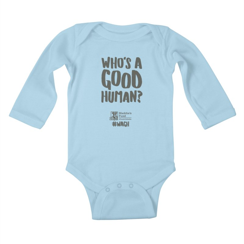 Who's a Good Human Handlettered Kids Baby Longsleeve Bodysuit by Maddie Shop