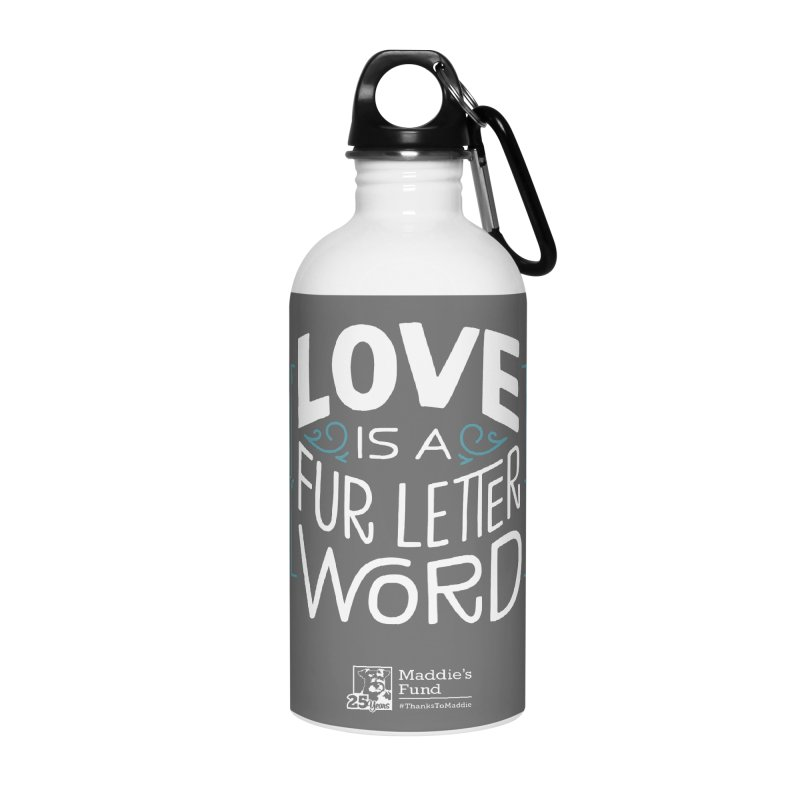 Love is a Fur Letter Word Dark Colors Accessories Water Bottle by Maddie Shop