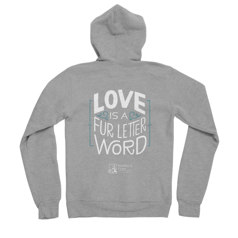 Love is a Fur Letter Word Dark Colors Men's Sponge Fleece Zip-Up Hoody by Maddie Shop