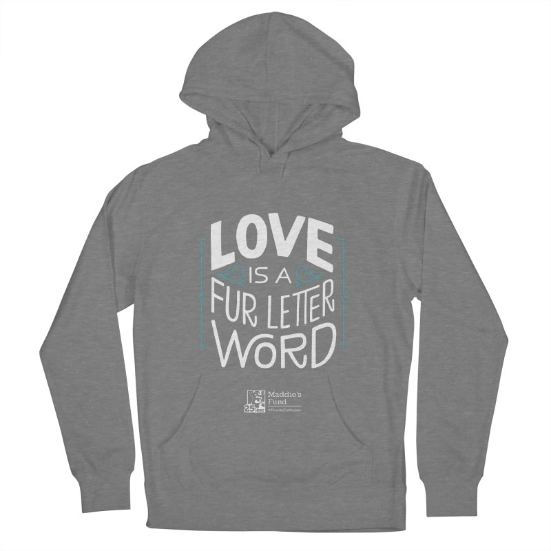 Love is a Fur Letter Word Dark Colors Men's French Terry Pullover Hoody by Maddie Shop