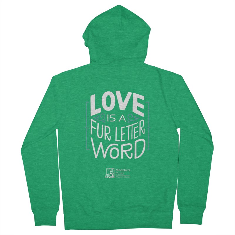 Love is a Fur Letter Word Dark Colors Men's French Terry Zip-Up Hoody by Maddie Shop
