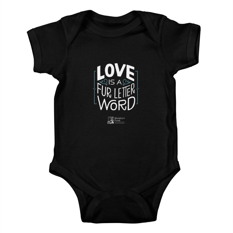 Love is a Fur Letter Word Dark Colors Kids Baby Bodysuit by Maddie Shop