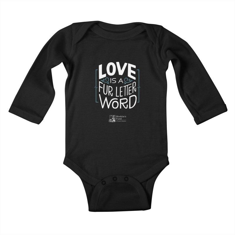 Love is a Fur Letter Word Dark Colors Kids Baby Longsleeve Bodysuit by Maddie Shop