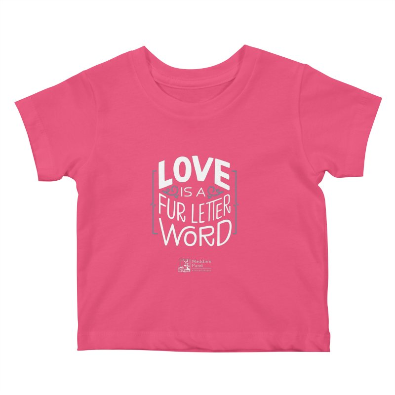 Love is a Fur Letter Word Dark Colors Kids Baby T-Shirt by Maddie Shop