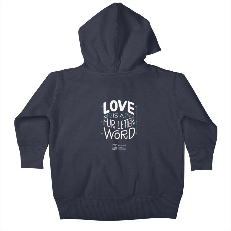 Love is a Fur Letter Word Dark Colors Kids Baby Zip-Up Hoody by Maddie Shop
