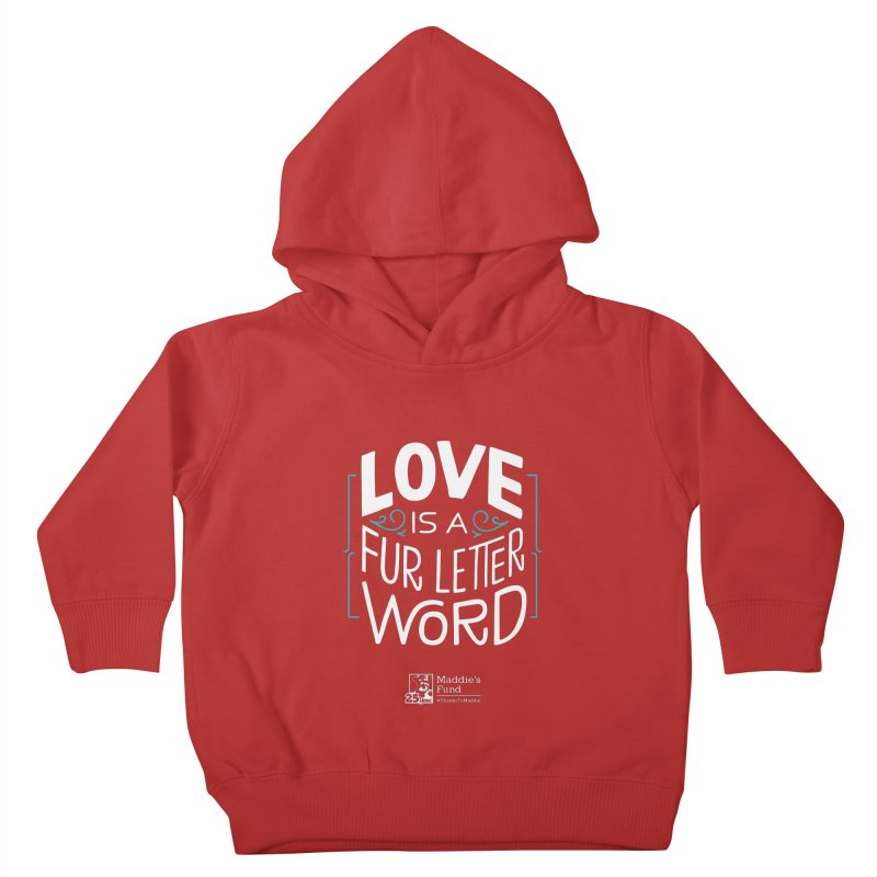 Love is a Fur Letter Word Dark Colors Kids Toddler Pullover Hoody by Maddie Shop