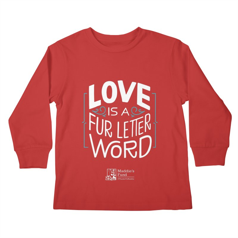Love is a Fur Letter Word Dark Colors Kids Longsleeve T-Shirt by Maddie Shop