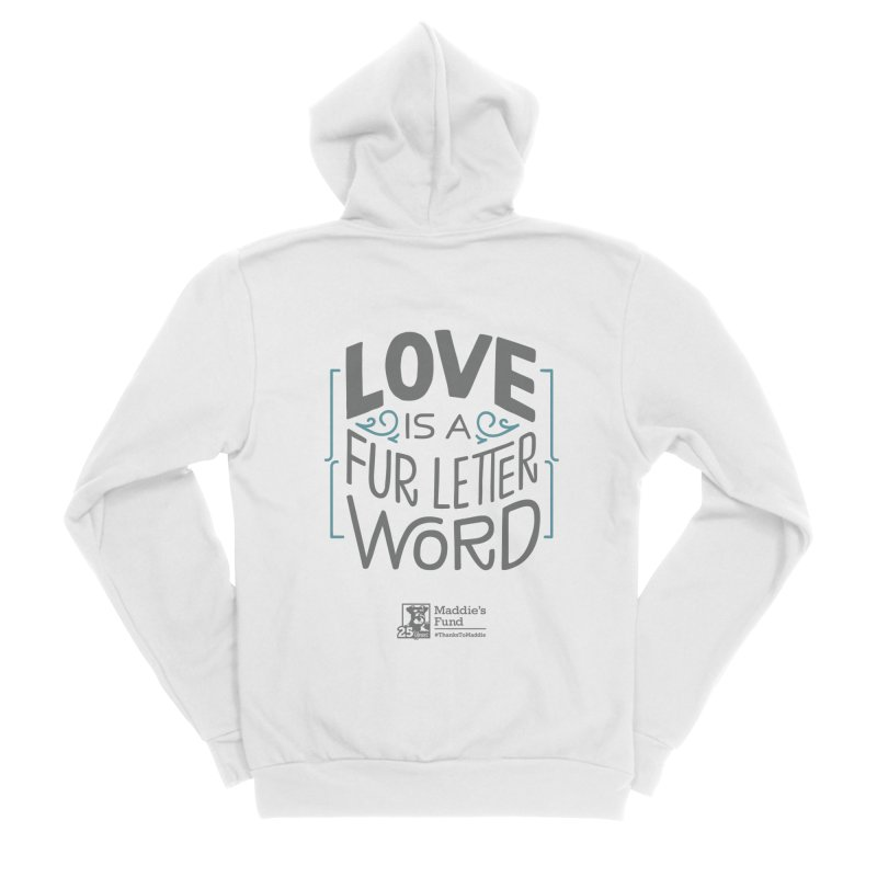 Love is a Fur Letter Word Light Colors Men's Sponge Fleece Zip-Up Hoody by Maddie Shop