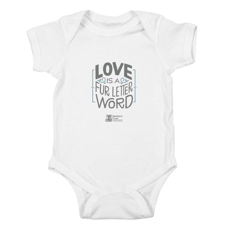 Love is a Fur Letter Word Light Colors Kids Baby Bodysuit by Maddie Shop