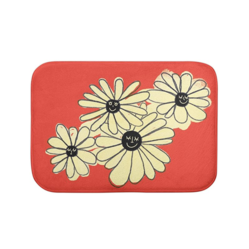 Floral Bunch Red Home Bath Mat by maddiewiththeglasses's Artist Shop
