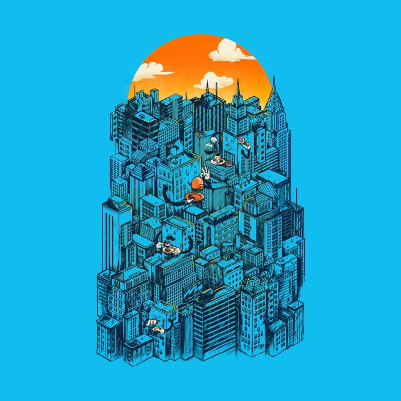 The city that never sleeps takes a break Kids Longsleeve T-Shirt by MadKobra