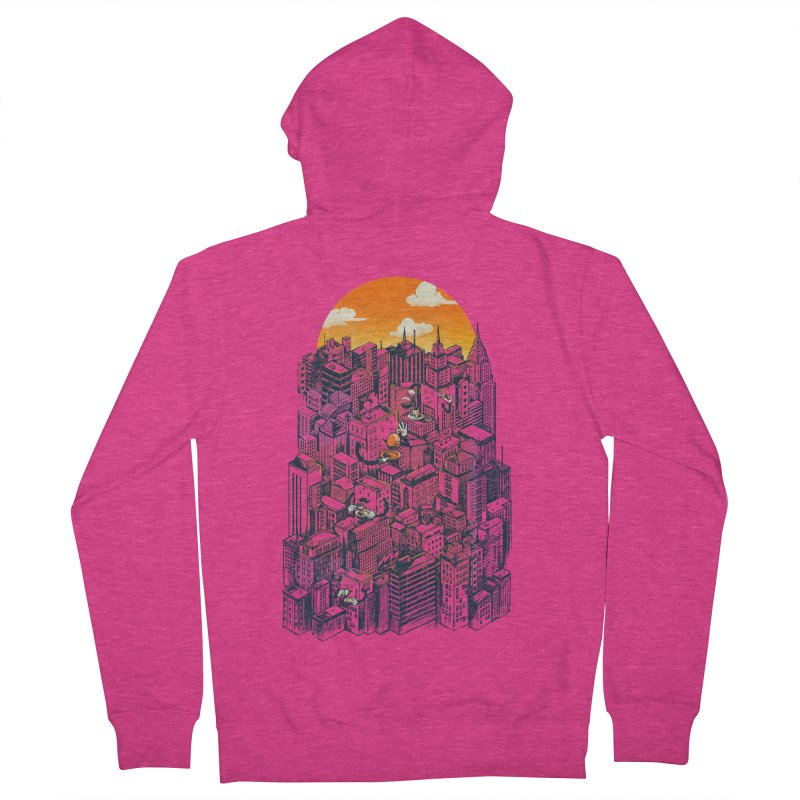 The city that never sleeps takes a break Women's French Terry Zip-Up Hoody by MadKobra