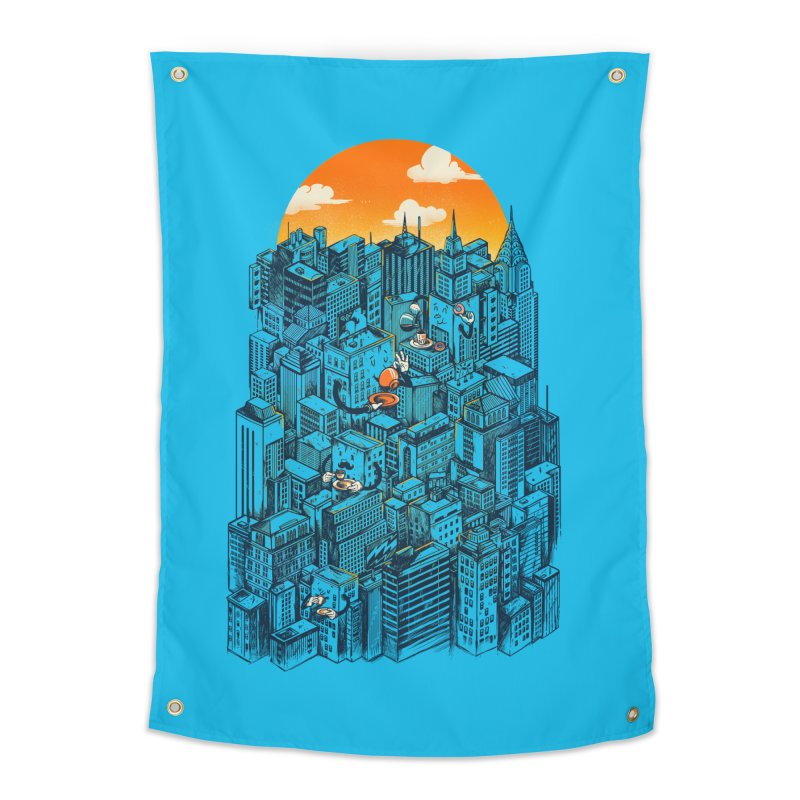 The city that never sleeps takes a break Home Tapestry by MadKobra