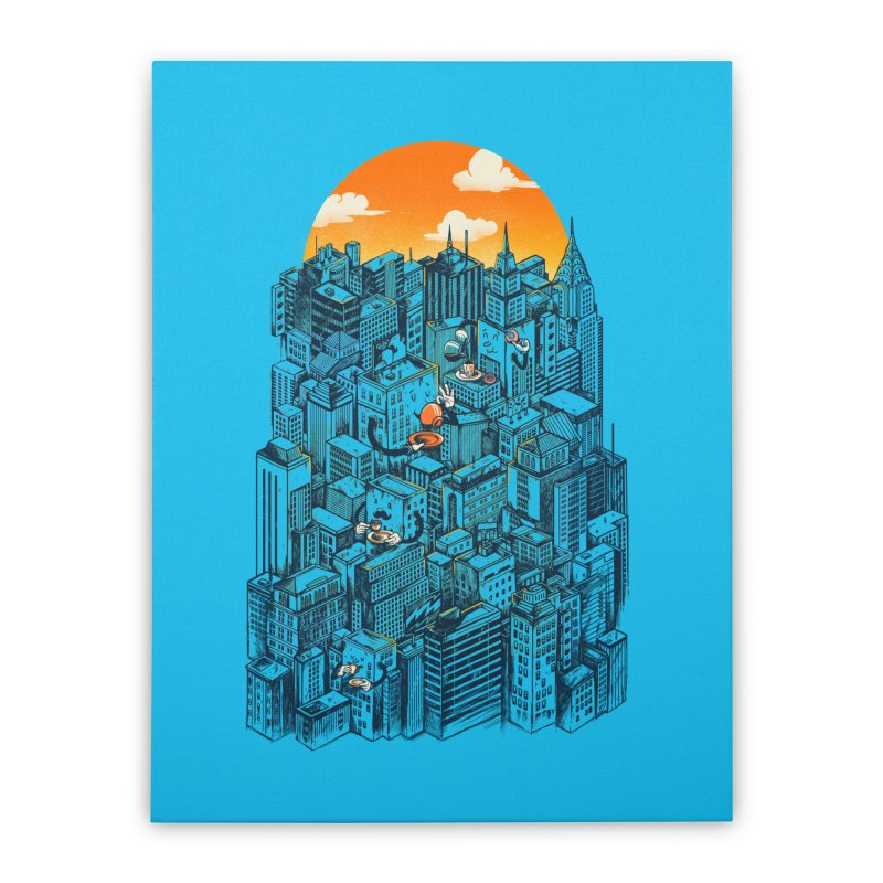 The city that never sleeps takes a break Home Stretched Canvas by MadKobra