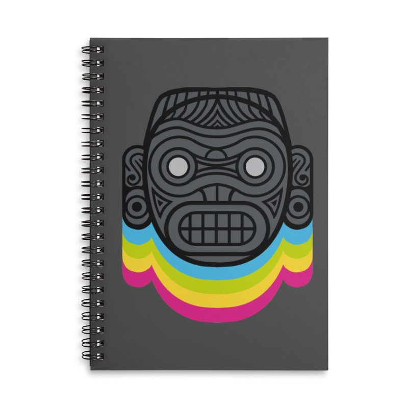 Taino mystic mask Accessories Lined Spiral Notebook by MadKobra
