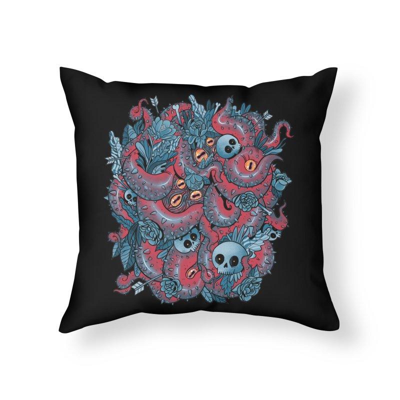 Bone & Roses Home Throw Pillow by MadKobra