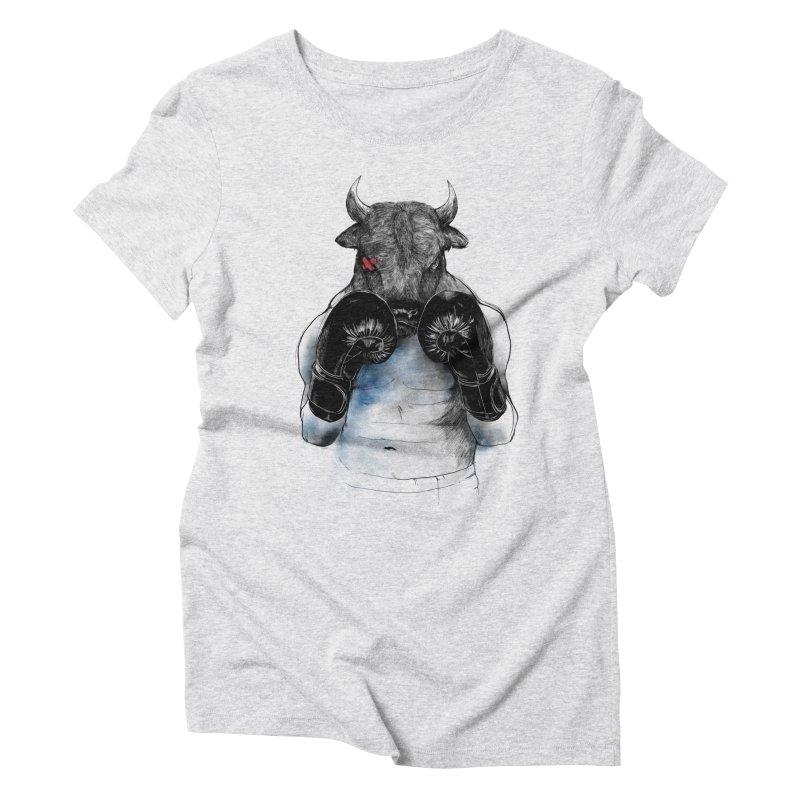 The Eye of the Raging Bull Women's Triblend T-Shirt by MadKobra