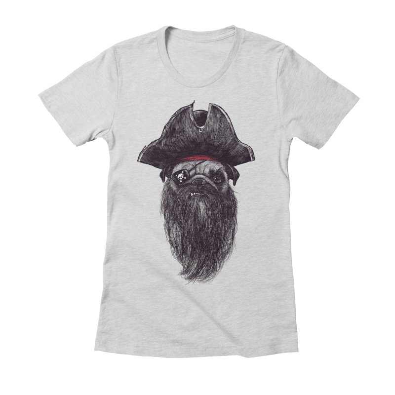 Captain Blackbone the Pugrate Women's Fitted T-Shirt by MadKobra