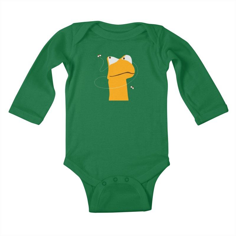 Felix the Frog (on dark colors) Kids Baby Longsleeve Bodysuit by mafemaria
