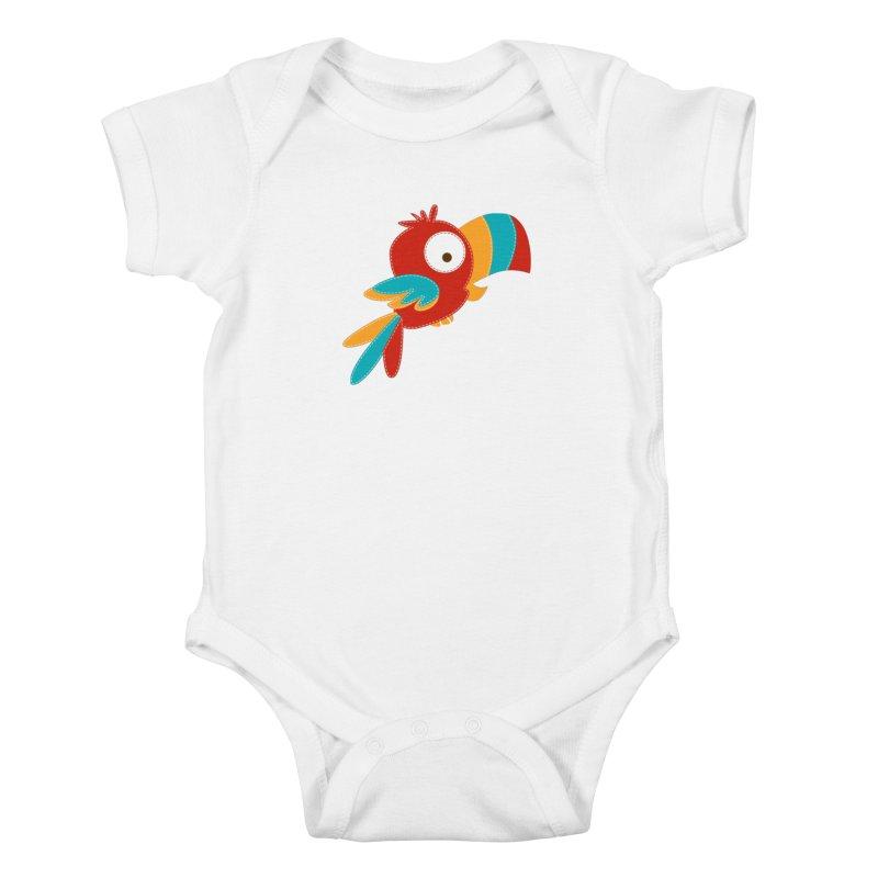 Paco the Tropical Bird Kids Baby Bodysuit by mafemaria
