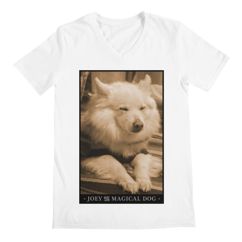Joey Asleep Sepia Tone Men's Regular V-Neck by Joey The Magical Dog