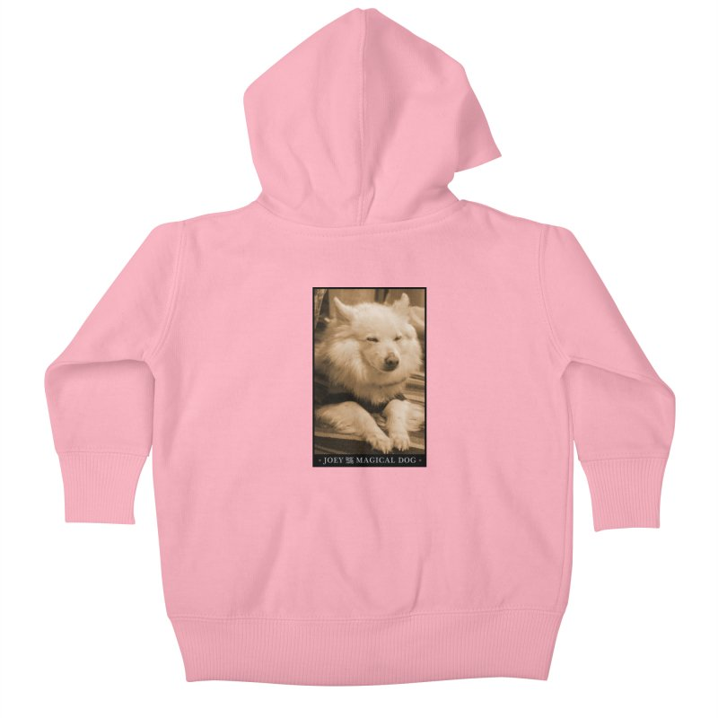 Joey Asleep Sepia Tone Kids Baby Zip-Up Hoody by Joey The Magical Dog