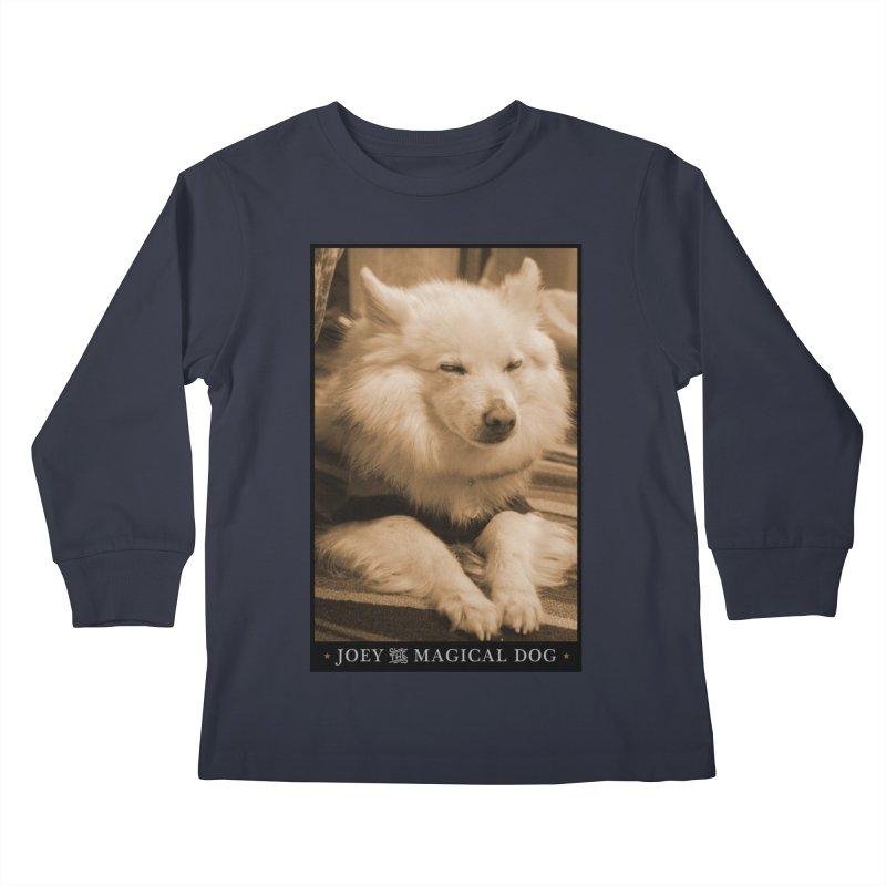 Joey Asleep Sepia Tone Kids Longsleeve T-Shirt by Joey The Magical Dog