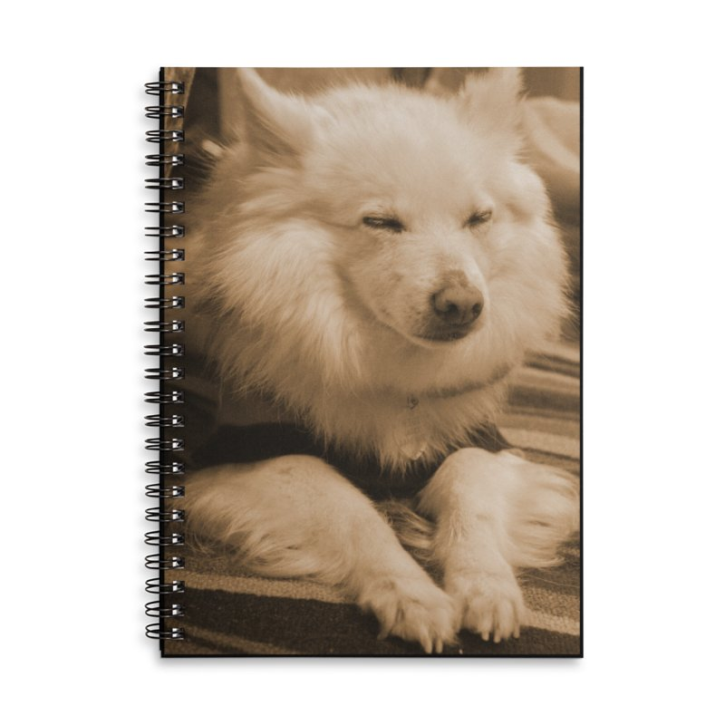 Joey Asleep Sepia Tone Accessories Lined Spiral Notebook by Joey The Magical Dog