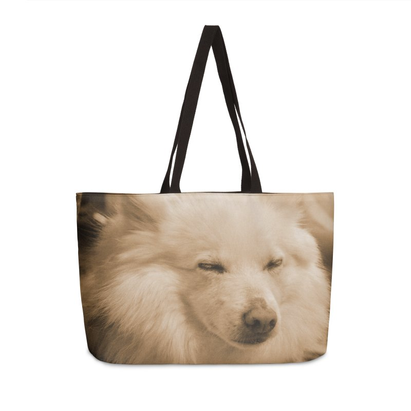 Joey Asleep Sepia Tone Accessories Weekender Bag Bag by Joey The Magical Dog