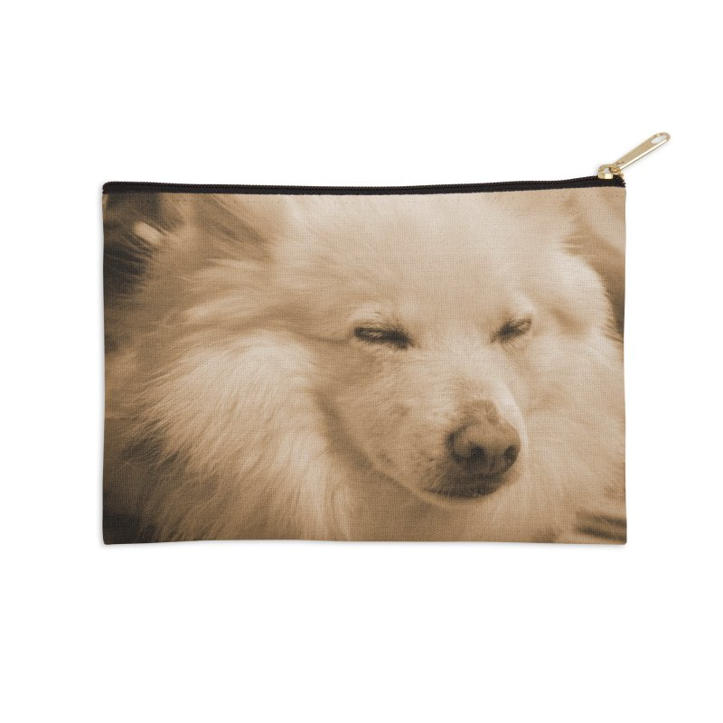 Joey Asleep Sepia Tone Accessories Zip Pouch by Joey The Magical Dog