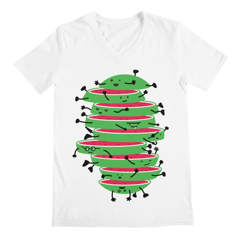 The tough life of a watermelon Men's Regular V-Neck by magicmagic