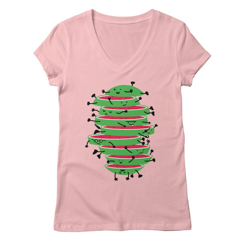 The tough life of a watermelon Women's Regular V-Neck by magicmagic