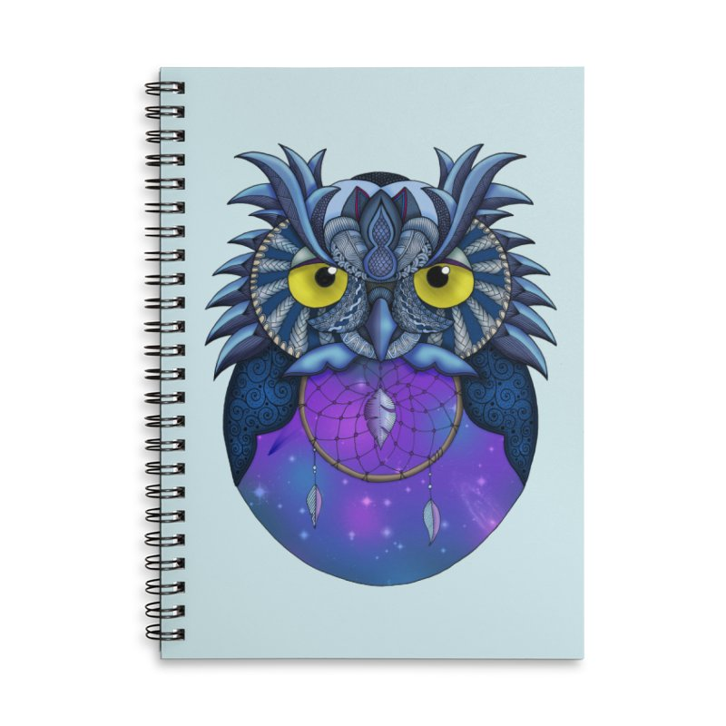 Dream Owl - Blue in Lined Spiral Notebook by Magic Mama Handmade