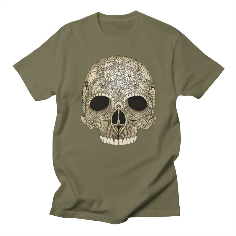 Flowered Skull in Men's Regular T-Shirt Olive by Magic Mama Handmade