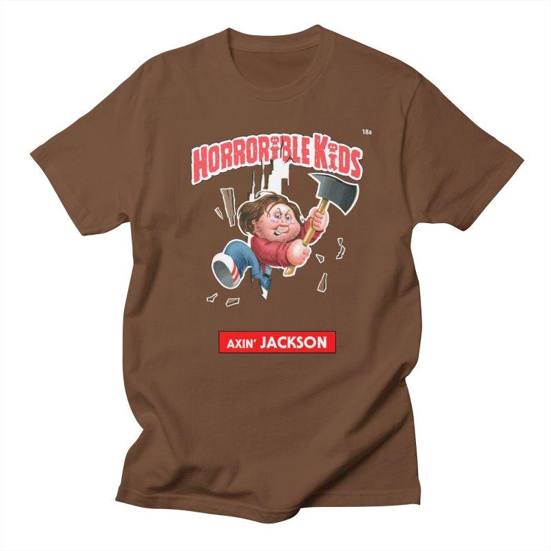 HK18a - Axin' JACKSON in Men's Regular T-Shirt Brown by Magic Marker Art - Mark Pingitore