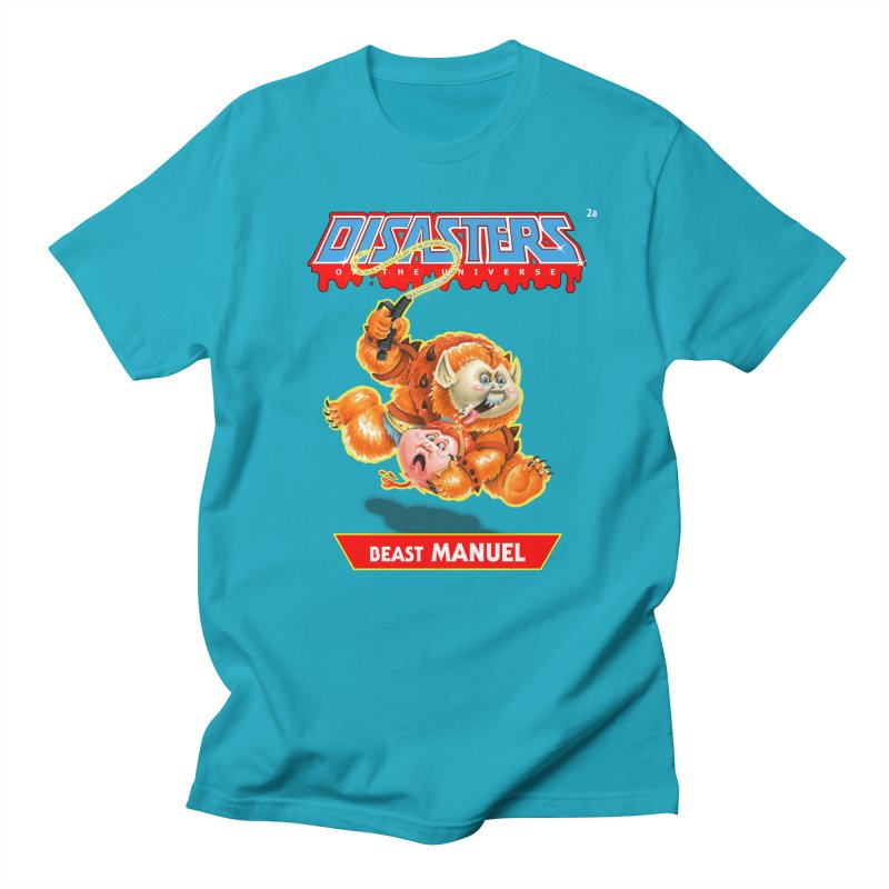 2a Beast MANUEL - Disasters of the Universe in Men's Regular T-Shirt Cyan by Magic Marker Art - Mark Pingitore