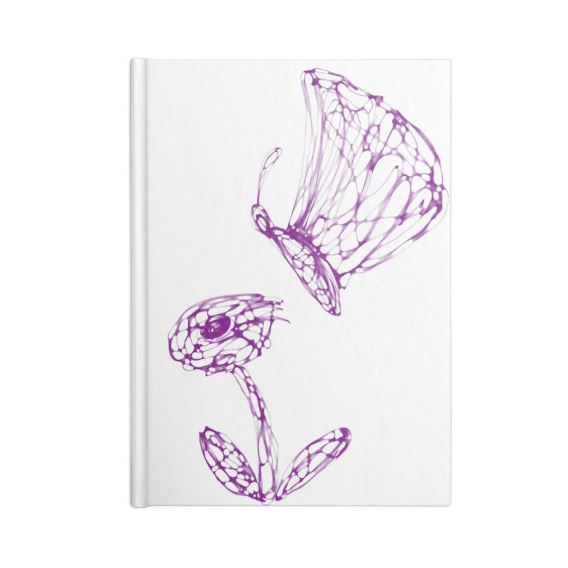 Monochromic Flower with Butterfly Accessories Lined Journal Notebook by Magic Pixel's Artist Shop