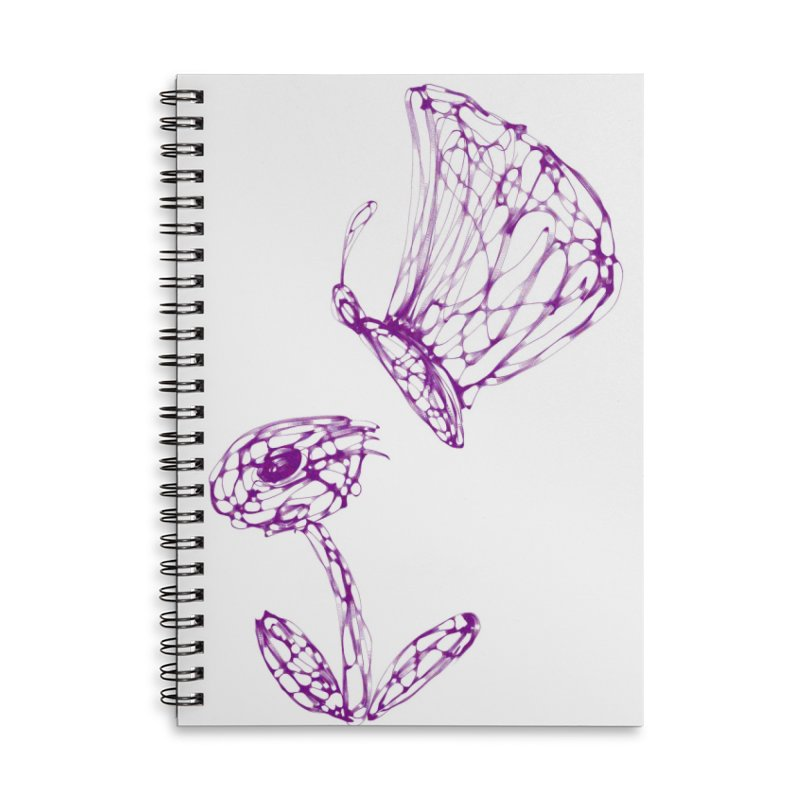 Monochromic Flower with Butterfly Accessories Lined Spiral Notebook by Magic Pixel's Artist Shop
