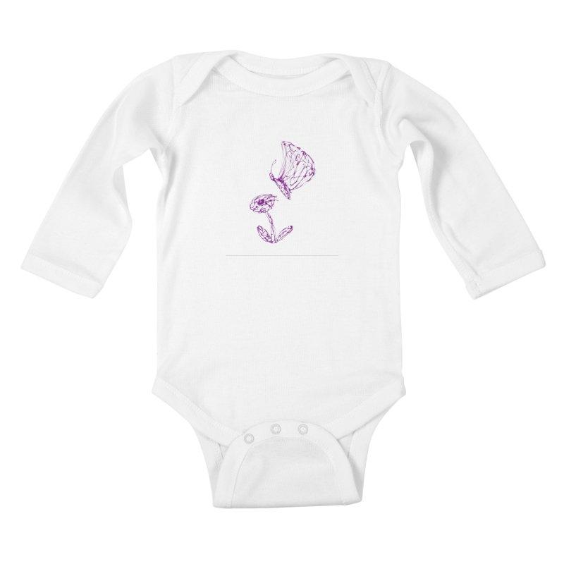 Monochromic Flower with Butterfly Kids Baby Longsleeve Bodysuit by Magic Pixel's Artist Shop